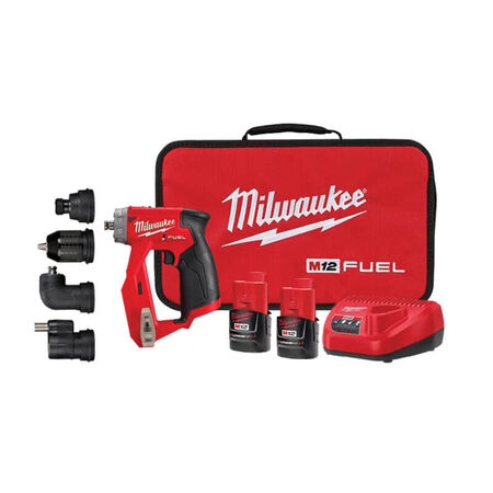 Milwaukee M12 FUEL 12V LI-Ion Brushless Cordless 4-in-1 Installation 3/8 in. Drill Driver Kit with 4-Tool Heads
