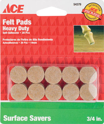 Ace Felt Round Self Adhesive Pad Brown 3/4 in. W 20 pk