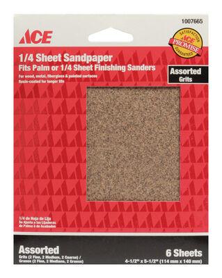 Ace Aluminum Oxide 1/4 Sheet Sandpaper 5-1/2 in. L Assorted Grit Assorted 6 pk
