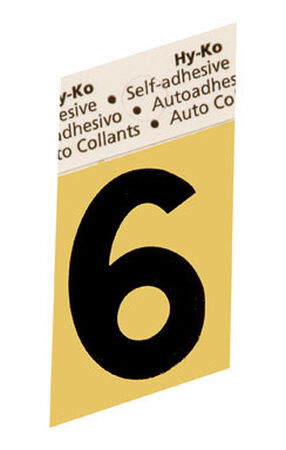 Hy-Ko Self-Adhesive Black Aluminum Number 6 1-1/2 in.
