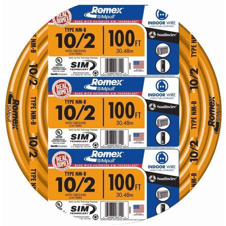 Southwire 100 ft. 10/2 Romex Type NM-B WG Non-Metallic Wire Orange