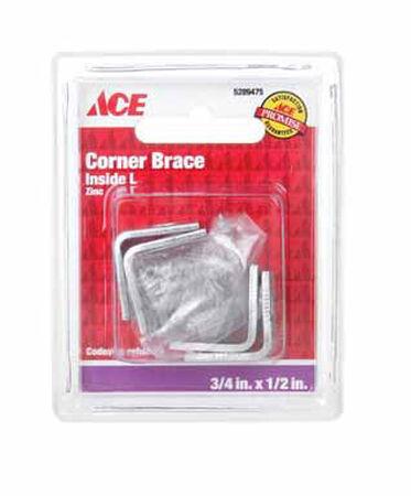 Ace Inside L Corner Brace 3/4 in. x 1/2 in. Zinc