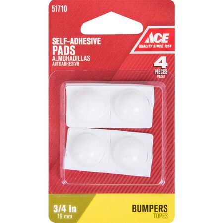 Ace Vinyl Round Bumper Pads White 3/4 in. W 4 pk
