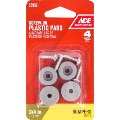 Ace Plastic Round Bumper Pads Gray 3/4 in. W 4 pk