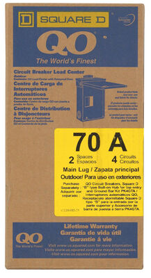 Square D QO 70 amps 2 space 4 circuits 120/240 volts Plug-In Main Lug Main Lug Load Center