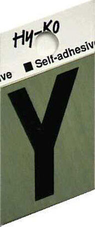 Hy-Ko Self-Adhesive Black Aluminum Letter Y 1-1/2 in.