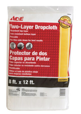 ACE Light Weight Plastic Two-Layer Drop Cloth 12 ft. L x 8 ft. W