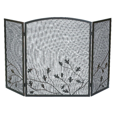 Panacea Colonial Brown Steel Fireplace Screen Indoor