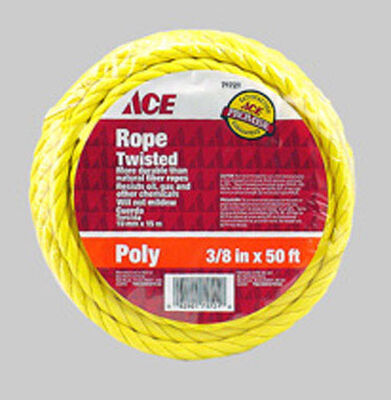 Ace 3/8 in. Dia. x 50 ft. L Twisted Poly Rope Yellow