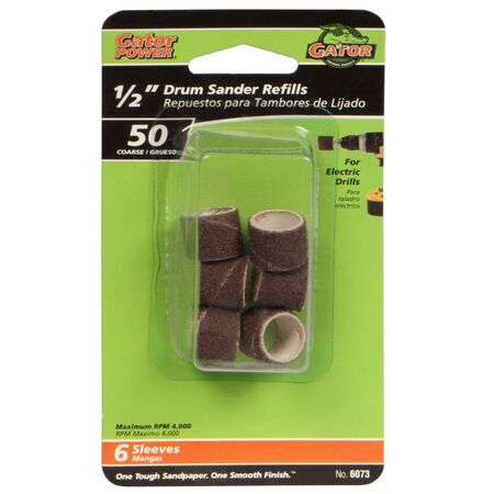Gator Grit 0.5 in. Dia. x 0.3 in. Dia. 50 Grit Abrasive Sleeve Refill Aluminum Oxide