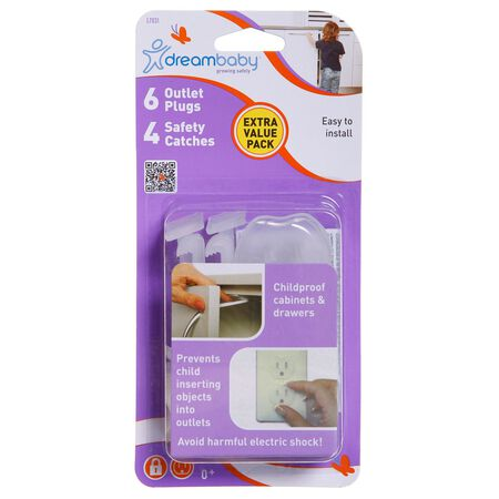 Dreambaby Translucent Plastic Safety Catches and Outlet Covers Kit 10 pk