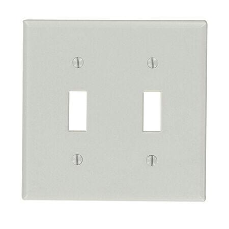 Leviton 2 gang Gray Thermoset Plastic Toggle Wall Plate 1 pk