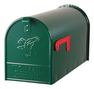 Solar Group Gibraltar Elite Galvanized Steel Post Mounted Mailbox Hartford Green 10-1/2 in. H