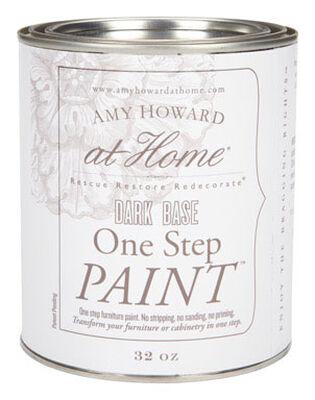 Amy Howard at Home Interior Latex One Step Furniture Paint Flat Chalk Finish 32 oz. Dark Base