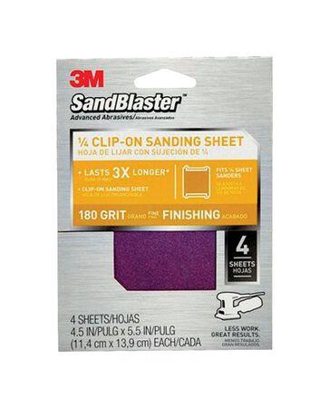 3M SandBlaster Silicon Carbide 1/4 Sheet Sandpaper 5-1/2 in. L 180 Grit 4 pk