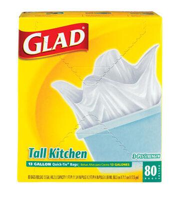 Glad 13 gal. Tall Kitchen Bags Quick Tie 80 pk