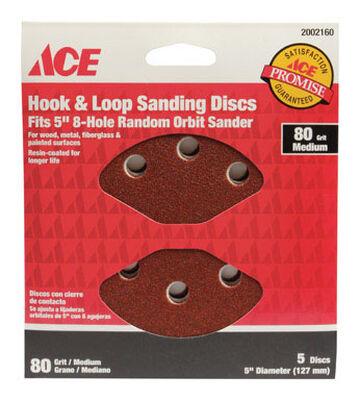 Ace 5 in. Dia. Sanding Disc 80 Grit Medium Hook and Loop 5 pk