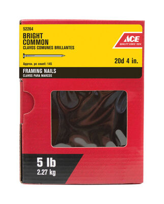 Ace Round 4 in. L Common Nail Smooth Bright Steel 5 lb.