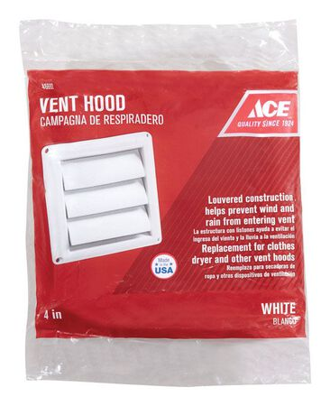 Ace Replacement Vent Hood 4 in. W White