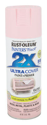 Rust-Oleum Painter's Touch Ultra Cover Candy Pink Gloss 2x Paint+Primer Enamel Spray 12 oz.