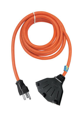Ace Indoor and Outdoor Triple Outlet Cord 14/3 SJTW 25 ft. L Orange