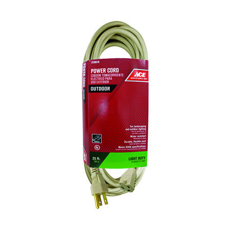 Ace Outdoor Extension Cord 16/3 SJTW 25 ft. L Beige