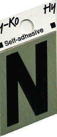 Hy-Ko Self-Adhesive Black Aluminum Letter N 1-1/2 in.