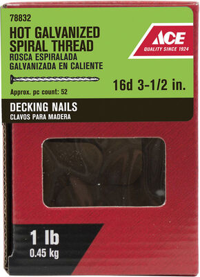 Ace Flat 3-1/2 in. L Deck Nail Spiral Hot-Dipped Galvanized Steel 1 lb.