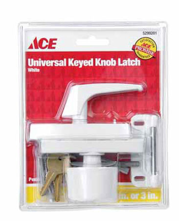 Ace Interior/Exterior Metal White Keyed Universal Knob Latch