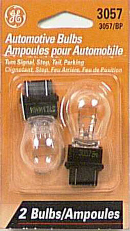 GE Miniature Lamps 3057BP For Turn Signal Stop Tail and Parking 12 volts 2 Carded
