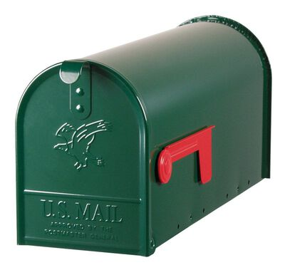 Solar Group Gibraltar Elite Steel Post Mounted Mailbox Hartford Green 8-3/4 in. H x 20 in. L