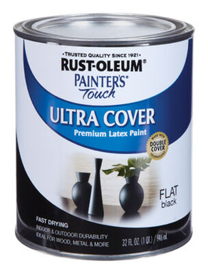 Rust-Oleum Painters' Touch Ultra Cover Interior/Exterior Latex Paint Black Flat 1 qt.