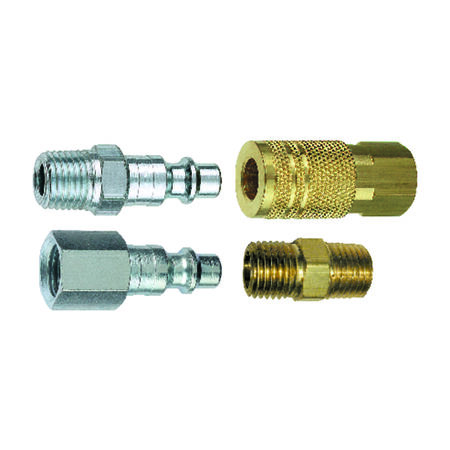 Tru-Flate Brass/Steel Air Coupler/Plug Kit 1/4 in. Female/Male