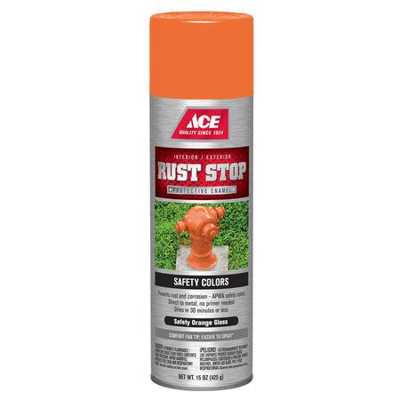 Ace Rust Stop Gloss Safety Orange Spray Paint 15 oz.