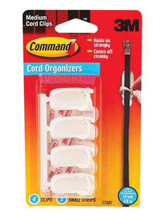3M Command Medium Cord Clip 1-1/4 in. L Plastic 4 pk