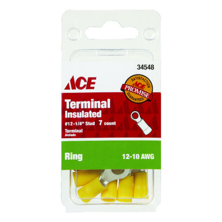 Ace Industrial Ring Terminal Vinyl 7 Yellow
