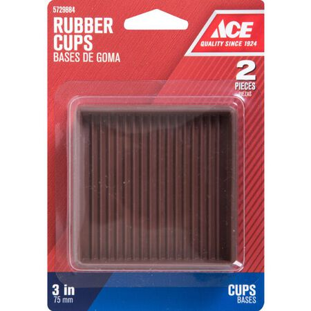 Ace Rubber Square Caster Cup Brown 3 in. W x 3 in. L 2 pk