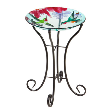 "16"" glass birdbath w/stand busy hummingbirds"