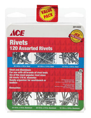 Ace 1/8 in. Dia. x 1/8 in. Aluminum Steel Assorted Rivets 120 pk