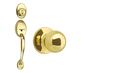 Coventry Polished Brass Door Handleset with Ball Knob Interior and Single Cylinder Deadbolt