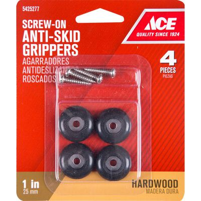 Ace Plastic Round Heavy Duty Anti-Skid Pads Black 1 in. W 4 pk