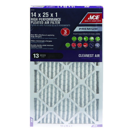 Ace 25 in. L x 14 in. W x 1 in. D Pleated Air Filter 13 MERV