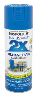 Rust-Oleum Painter's Touch Ultra Cover Brilliant Blue Gloss 2x Paint+Primer Enamel Spray 12 oz.