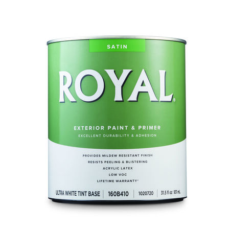 Royal Satin Tint Base Ultra White Base Acrylic Latex Paint and Primer in One Outdoor 1 qt.
