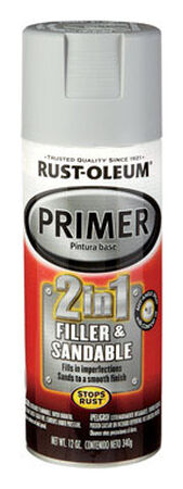 Rust-Oleum Stops Rust Gray Smooth Automotive 2-in-1 Filler & Sandable Primer Spray 12 oz.