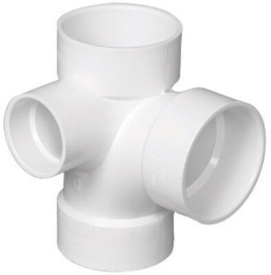 Charlotte Pipe 3 in. Dia. x 3 in. Dia. x 3 in. Dia. Hub To Hub To Hub PVC Sanitary Tee With Left
