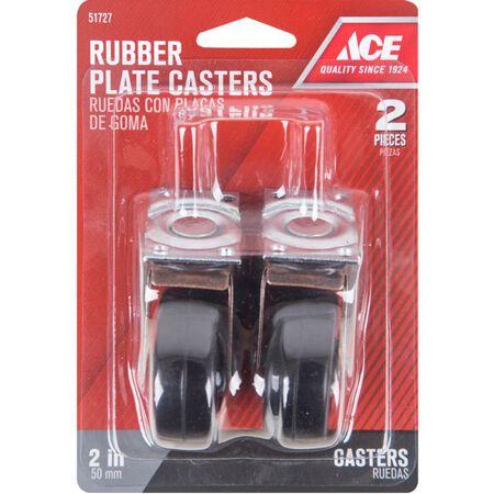 Ace Rubber 2 in. Dia. Swivel Copper/Black Caster Wheel with Plate 80 lb. 2 pk