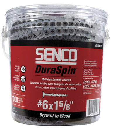 Senco DuraSpin No. 6 x 1-5/8 in. L Gray Phosphate Drywall Screws 1 000 pk