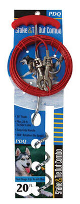 PDQ Vinyl Coated Cable Tie Out with Stake 20 ft. L For Up to 60 Pounds