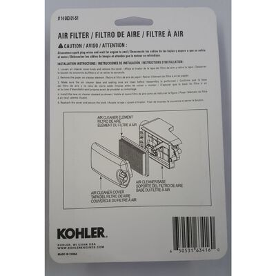 Kohler Small Engine Air Filter For Courage XT-6 and XT-7 Engines Fits Husqvarna